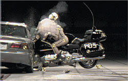Crash test moto