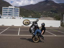 Le wheelie no hand assis